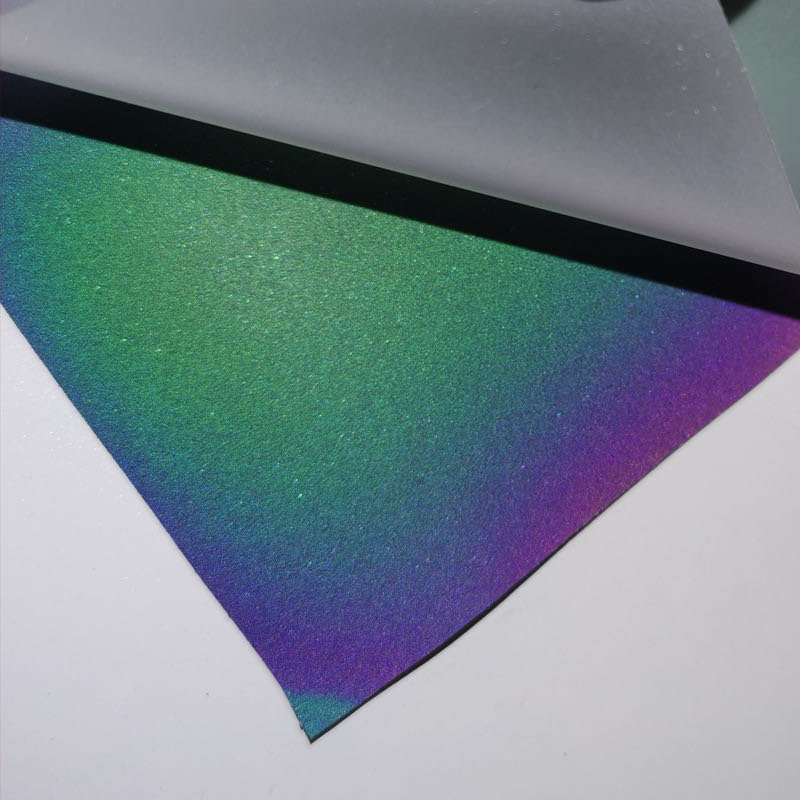 wholesale color textile patterned Rainbow reflective color heat transfer vinyl for clothing