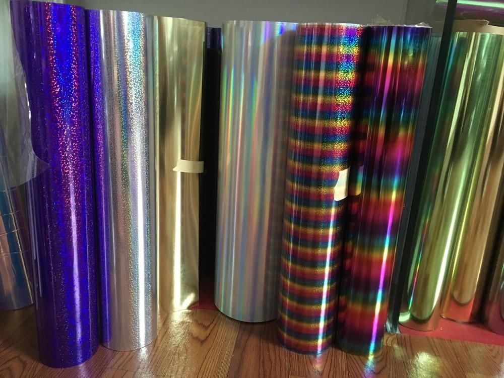 Wholesale high quality t-shirt PET Iron On hologram heat transfer vinyl